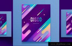 时尚创意彩色渐变流行音乐杂志宣传册封面海报PSD设计素材模板