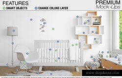 高品质的婴儿床 & 90个相框展示样机下载
