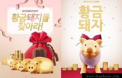 2019猪年卡通可爱小猪喜庆金融招财海报PSD分层设计PS模版素材图