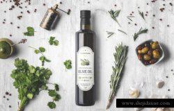 高端时尚的高品质橄榄油包装设计VI样机展示模型mockups