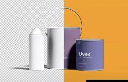 油漆桶/油漆容器包装设计效果图样机 Paint Packaging Mockup