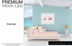 海景房枕头和框架展示样机下载 Pillows & Frames Set – Coastal Style [psd]
