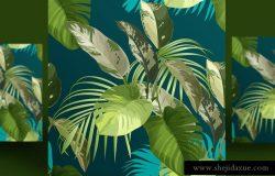 热带绿色植物叶无缝图案花纹背景矢量设计素材