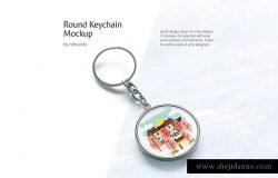 钥匙扣的全面展示样机下载 Round Keychain Mockup