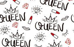 女王排版,钻石,唇膏和皇冠绘图,无缝无止境重复图案,纹理/矢量插图设计,用于时装面料,纺织图形,印刷,壁纸等用途。