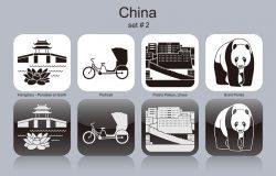 中国的地标。一组单色图标。可编辑向量插图
