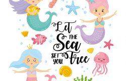 """关于海洋主题的贺卡。可爱的美人鱼,贝壳,海洋动物。手绘字体。""""让海让我自由""""的鼓舞人心的信息。"""