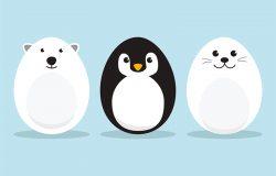 蛋形北极动物字符集复活节日,