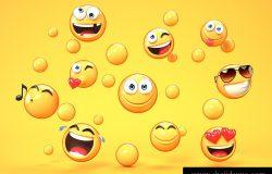 黄色背景三维渲染中的各种表情