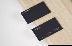 简约高级名片设计效果图样机模板 Slim Business Card Mockup