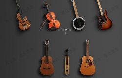 音乐小提琴小号海报网页vi平面设计背景图片PSD分层样机模型素材
