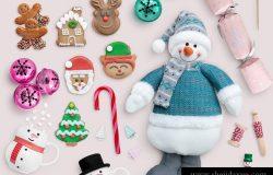 圣诞节糖果色教堂饼干甜美可爱场景模拟素材