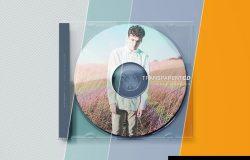 透明音乐CD盒封面设计样机模板 Transparent CD Case Mockup