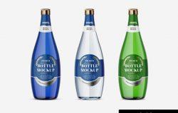 玻璃矿泉水瓶包装贴图展示模版 Glass Bottle Mockups Set