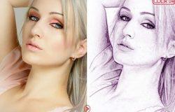 人物肖像矢量素描艺术Photoshop动作下载