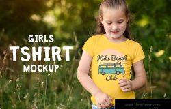 女童T恤可爱印花设计样机模板 Girls T-shirt Mock-up