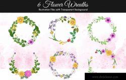 水彩手绘花卉图案矢量插画设计素材