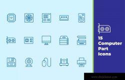 电脑零部件主题矢量图标素材 Computer Part Icons