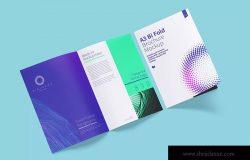A3尺寸大小双折页小册子&传单设计样机03 A3 Bi Fold Brochure Mockup