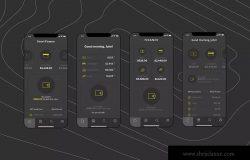 电子钱包APP应用用户中心UI界面模板[黑色配色方案]v4 Mobile Finance Home Ui – FD