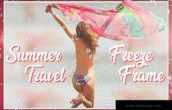 夏日旅行摄影后期处理相框素材PSD模板 Summer Travel Freeze Frame
