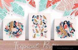 热带性感女郎手绘矢量插画设计素材 Tropical Girls vector posters