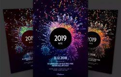 绚丽烟花新年海报传单设计模板