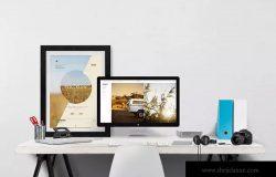 办公桌办公场景样机模板 Desktop Mockup Creator
