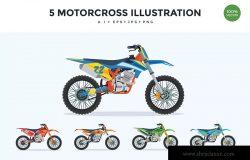 5个极限运动摩托车矢量图形插画素材 5 Extreme Motorcross Bike Vector Illustration Set
