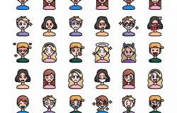 30枚彩色人物头像&表情矢量图标