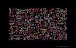 霓虹色庆祝派对活动主题矢量插画素材 Celebration Party neon colors vector illustration