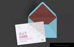 A7规格信封&贺卡设计样机模板 A7 Envelope and Landscape Card Mockup
