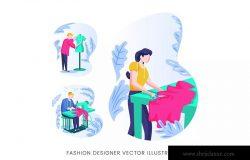 时装设计师人物形象矢量手绘手绘设计素材 Fashion Designer Vector Character Set