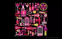音乐夏夜矢量艺术插画设计素材 Music Summer Night vector artwork