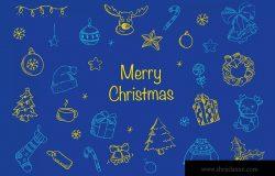 圣诞节主题元素装饰图案矢量设计素材