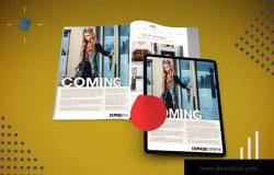 杂志印刷设计/杂志APP设计图预览样机样机 Abstract Magazine App Mouckup