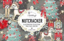 圣诞节胡桃夹子矢量手绘设计素材 Christmas Nutcracker design