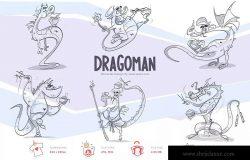 手绘恐龙卡通形象设计PNG素材 Dragoman