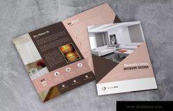 室内设计双折页广告手册设计模板 Interior Design Bifold Brochure