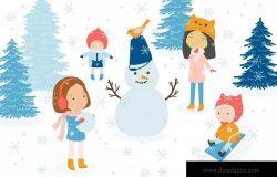 冬天儿童乐园矢量插画设计素材 Winter Fun Vector Graphic Set
