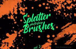 墨水飞溅泼墨图案纹理PS笔刷v2 Splatter Stamp Photoshop Brushes