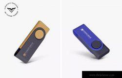创意便携U盘产品外观设计效果图样机 USB Pendrive Mockups