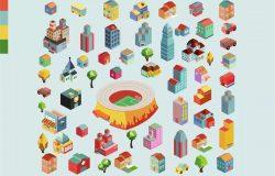 多彩等距城市场景矢量插画v3 Colorful vector isometric city