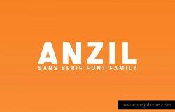 现代干净独特无衬线英文字体家族 Anzil Sans Serif 5 Font Family