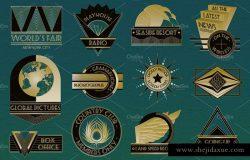 装饰艺术复古风格Logo模板 Art Deco Logos Templates