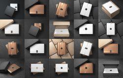 20种样式黑白&玫瑰金礼品盒包装纸样机