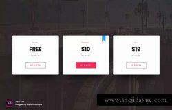 极简主义网站价格表单界面设计模板v1 for XD Pricing Table Vol 01 – Adobe XD