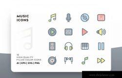 音乐主题填充图标矢量图标素材