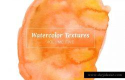 黄橙色水彩肌理纹理素材系列套装Vol.5 Yellow & Orange Watercolors – Volume 5