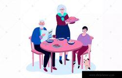 家庭聚餐-扁平设计风格矢量插画素材